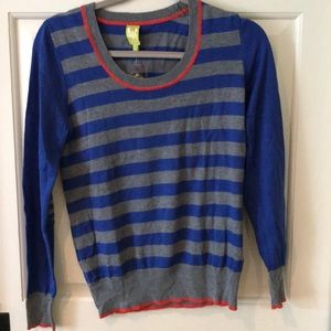 Royal Blue & Grey Striped Sweater